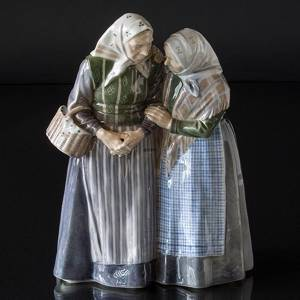 Two old women talking knowingly, Royal Copenhagen figurine