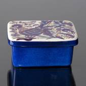 Blue jar with lid, crackled, Royal Copenhagen