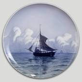 Plate with sailing ship, Royal Copenhagen