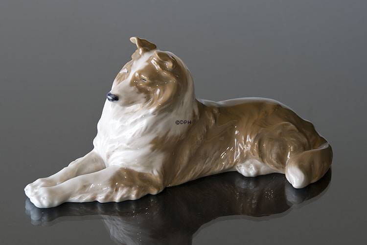 Collie Lying Comfortably Royal Copenhagen Dog Figurine