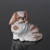 Pekinese dog sitting down, Royal Copenhagen dog figurine