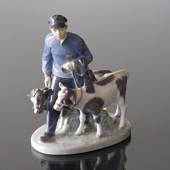 Boy with 2 calves, Royal Copenhagen figurine no. 1020117