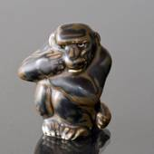 Monkey the thinker, 8,5cm, Royal Copenhagen stoneware figurine