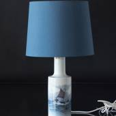 Table lamp with marine motif of fishing boat