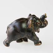 Elephant running with trunk high, Royal Copenhagen Stoneware figurine