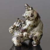 Bears playing and figthing, Royal Copenhagen stoneware figurine