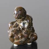 Boy fighting with Bear and Winning, Royal Copenhagen Stoneware figurine No....