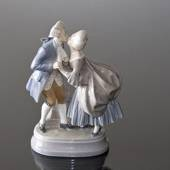 The Kiss, man and woman in rococo dress, Royal Copenhagen figurine