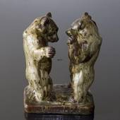 Bears standing sizing each other up for fight, Royal Copenhagen Stoneware f...