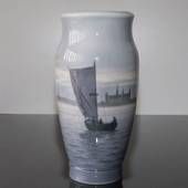Vase with Sailing Ship by Kronborg, Royal Copenhagen