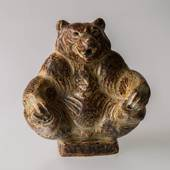 Bear sitting playfully, Royal Copenhagen stoneware figurine