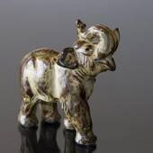 Standing Elephant with trunk held high, Royal Copenhagen stoneware figurine
