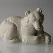 White Polar bear lying down, Stoneware, Royal Copenhagen figurine no. 21520