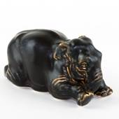 Elephant kneeling down, Royal Copenhagen stoneware figurine