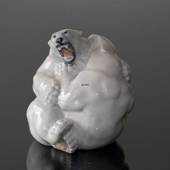 Polar bears fighting in an equal match, Royal Copenhagen figurine