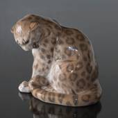 Panther looking down at its tail, Royal Copenhagen figurine