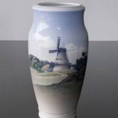 Vase with landscape with Windmill, Royal Copenhagen No. 2634-2040