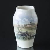 Vase with Landscape of lonely small cottage, Royal Copenhagen No. 2695-2037