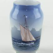 Vase with Sailing Ship with good wind, Royal Copenhagen