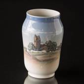 Vase with scenery of a classic Danish church, Royal Copenhagen