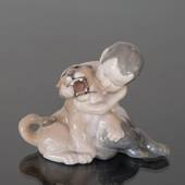 Faun on Lion cub, Royal Copenhagen figurine