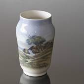 Vase with Landscape with small cottage, Royal Copenhagen No. 2854-3604