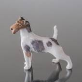 Wire-haired terrier standing at attention, Royal Copenhagen dog figurine