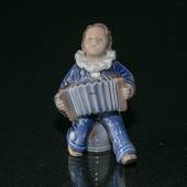 Child with Accordion, Merry tunes being played, Royal Copenhagen figurine N...