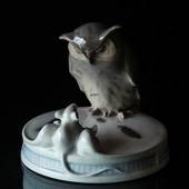 Plateau with Owl and 3 white mice, Royal Copenhagen