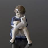 Girl with Cat, Royal Copenhagen cat figurine No. 4631