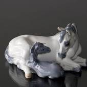 Mare with Foal lying close, Royal Copenhagen horse figurine No. 4698