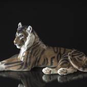 Tiger lying down resting, Royal Copenhagen figurine No. 714