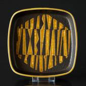 Faience dish in black and yellow by Nils Thorssen, Royal Copenhagen