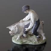 Swineherd leading the pig, Boy with pig, Royal Copenhagen figurine