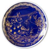1978 Ravn Cobalt Blue Easter Plate Bunny Rabbit in Easter Egg