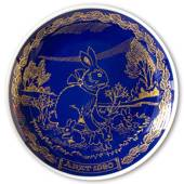 1980 Ravn Cobalt Blue Easter Plate Bunny Rabbit with young ones
