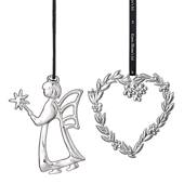 Karen Blixen Christmas, Leaf heart and angel fairy, silver-plated
