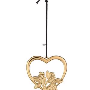 Karen Blixen Christmas, Heart with flowers gold-plated | Year 2019 | No. RD32312 | DPH Trading