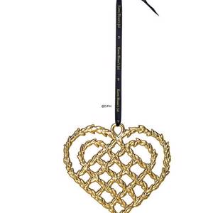 Karen Blixen Christmas, plaited heart, large, gold-plated | Year 2018 | No. RD32497 | Alt. 32497 | DPH Trading