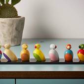 Kay Bojesen Sparrows on board, 7 pcs., painted beech