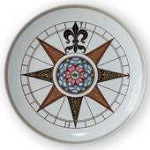 1980 Royal Copenhagen Compass plate, King Christian IV's compass 1595
