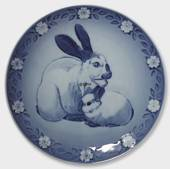 1985 Royal Copenhagen Mother and Child plate, rabbit with bunnies