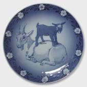 1987 Royal Copenhagen Mother and Child plate, nanny goat with kid