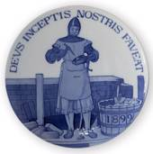 1899 Royal Copenhagen Odd Fellow Memorial plate, DEVS INCEPTIS NOSTRIS FAVE...