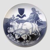1880-1905 Royal Copenhagen Memorial plate, Gefion plowing, 1880-1905