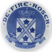 1909 Royal Copenhagen Memorial plate, DE FIRE ROSER - CARITATE DEI