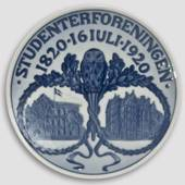 1820-1920 Royal Copenhagen Memorial plate , STUDENTERFORENINGEN 1820 16 JUL...
