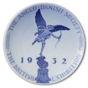 1932 Royal Copenhagen Memorial plate, THE ANGLO DANISH SOCIETY 1932 THE BRITISH EXHIBITION | Year 1932 | No. RNR270 | Alt. no. 270 | DPH Trading