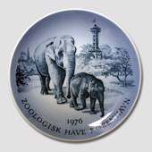 1976 Royal Copenhagen Memorial plate, The Copenhagen Zoo, Elephants