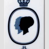 Royal Copenhagen Tile with Silhouette of Queen Margrethe and Prince Henrik